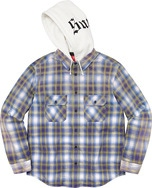 Hooded Flannel Zip Up Shirt