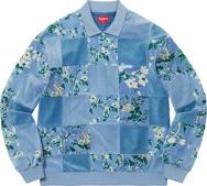 Floral Patchwork Velour L/S Polo